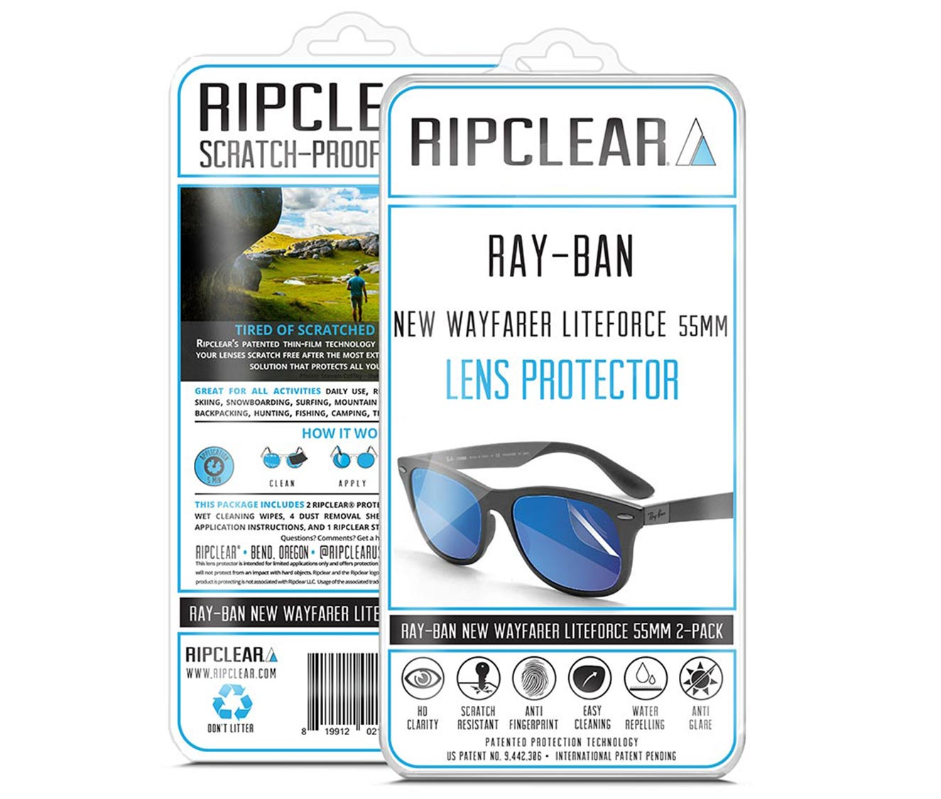dfb24fd920 RIPCLEAR Sunglasses Lens Clear Protectors 2 Pack for Ray-Ban